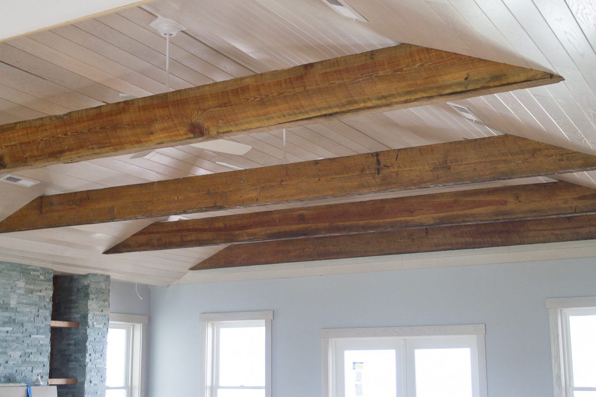 These beams are heartwood pine, an extremely rare wood that was almost  timbered to extinction by 1900, salvaged from a cotton mill in Greenville,  ... - Custom, Reclaimed Wood Beams Add Character To Myrtle Beach Home