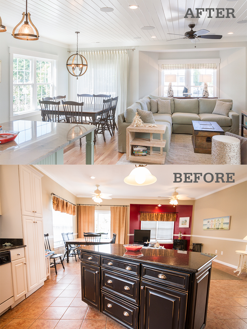 Before after photos of a surfside beach vacation home - Living room renovation before and after ...